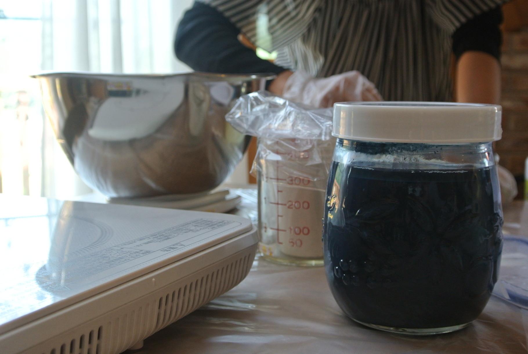 泥藍を使って石鹸作りをしてみました。