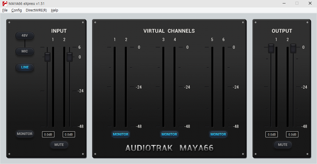 Volume Control for Inputs and Outputs, Input(MIC/LINE) selector on Control Panel Software