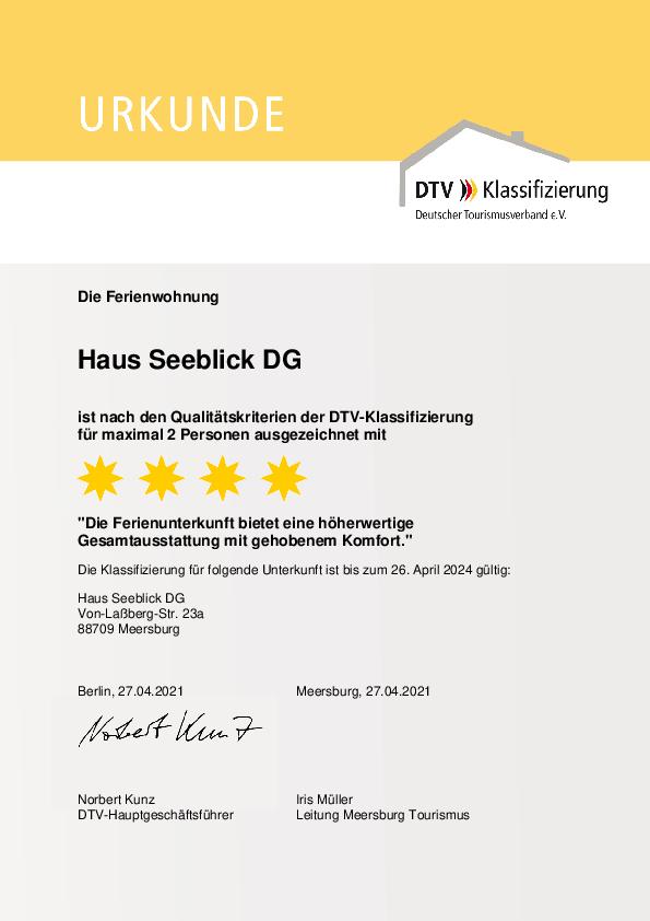 Urkunde DTV-Klassifizierung 2021 - DG-Wohnung F**** - 4 Sterne