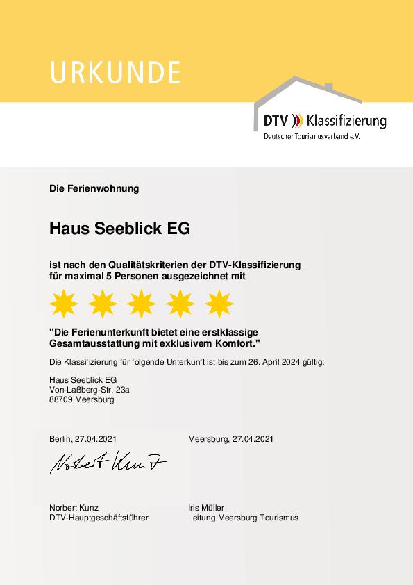 Urkunde DTV-Klassifizierung 2021 - EG-Wohnung F***** - 5 Sterne