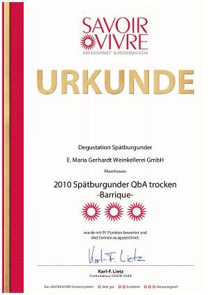 SAVOIR-VIVRE Urkunde 2010er Spätburgunder trocken barrique