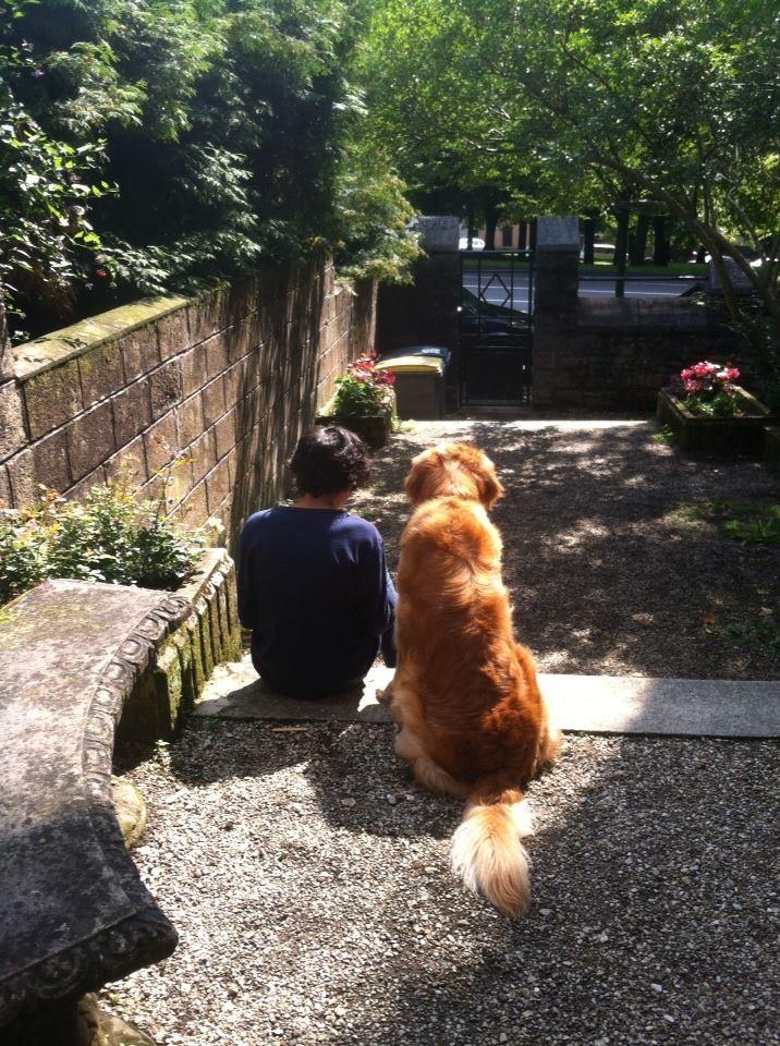 Huggy consolant son petit maître