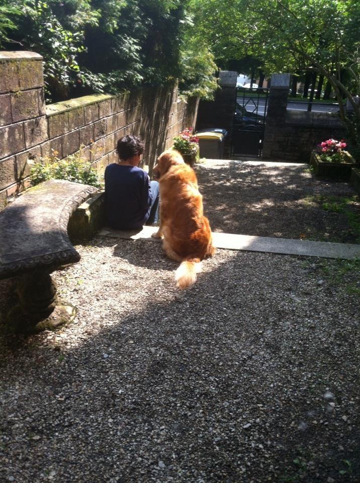 Huggy consolant son petit maître 2
