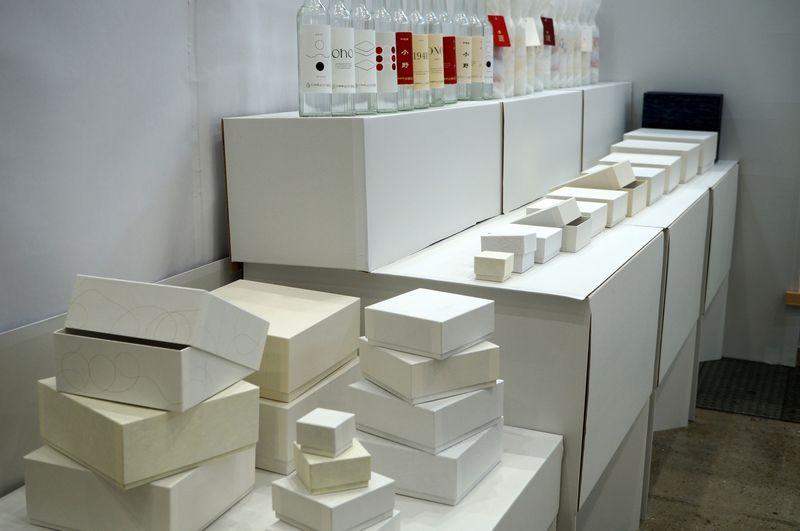 パッケージ×デザイン展に出展した和紙ラベルと白系の貼り箱