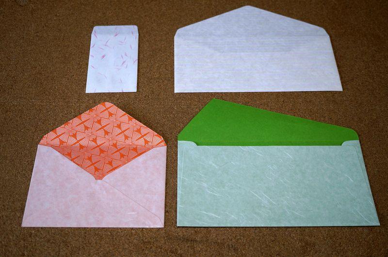 封筒の形状は、ポチ袋、はがきサイズ、洋形長3号、洋形4号の4種類から選べます