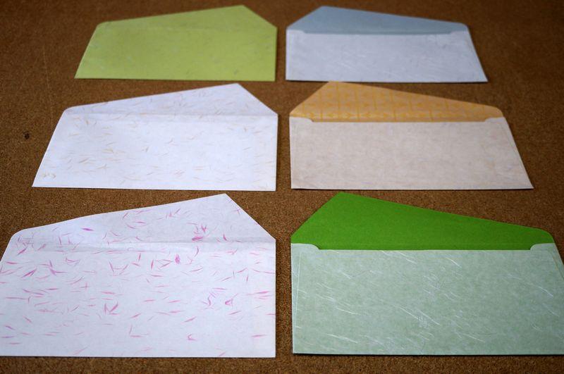 自分好みの和紙を選んで、洋形長3号の封筒を100部以上100部単位でお仕立てします