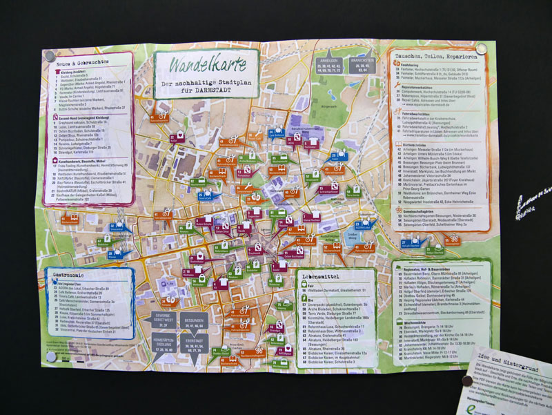 Wandelkarte Darmstadt, Vorderansicht