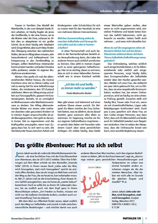 """Interview mit C. Perleberg im unabhängigen Frauenmagazin MATHILDE, Heft 151 (2017), Schwerpunkt """"Selbstliebe&Selbstfürsorge"""""""