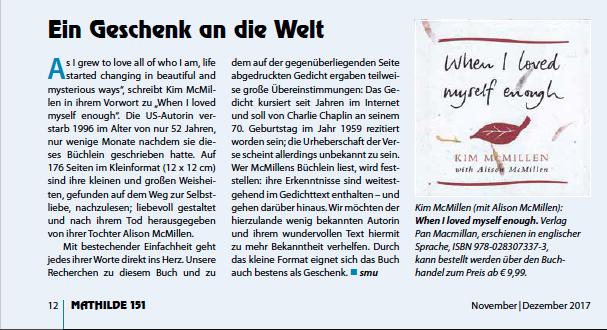 """Rezension im unabhängigen Frauenmagazin MATHILDE, Heft 151 Schwerpunkt """"Selbstliebe&Selbstfürsorge"""""""