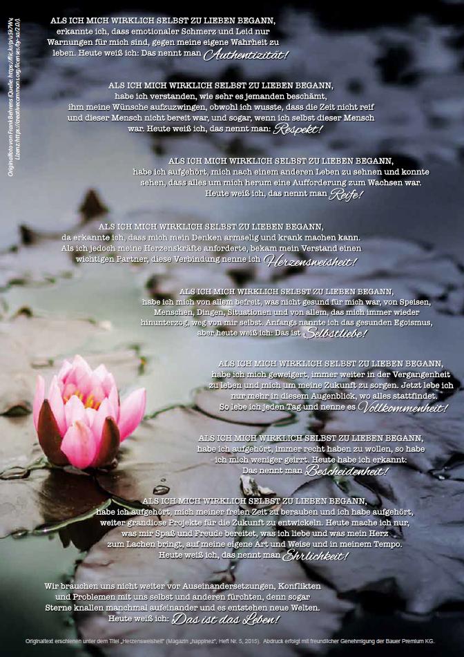 """Beitrag im unabhängigen Frauenmagazin MATHILDE, Heft 151 (2017), Schwerpunkt """"Selbstliebe&Selbstfürsorge"""", grafische Umsetzung eines veröffentlichten Gedichttextes (Abdruck erfolgte mit Genehmigung)"""