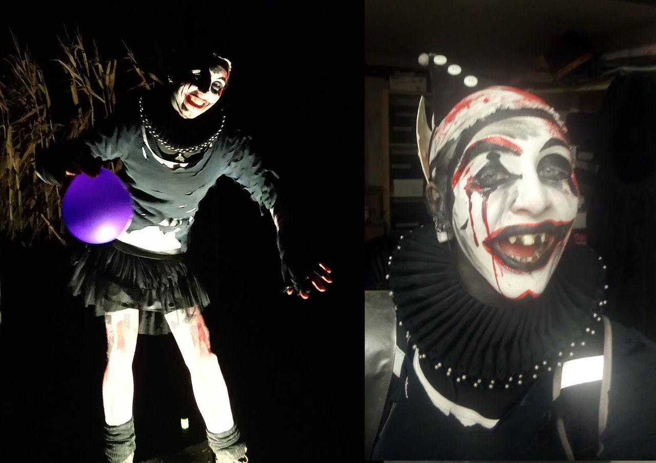 Erschrecker Walking Akt als Horror Clown oder Harlequin bei Kiel