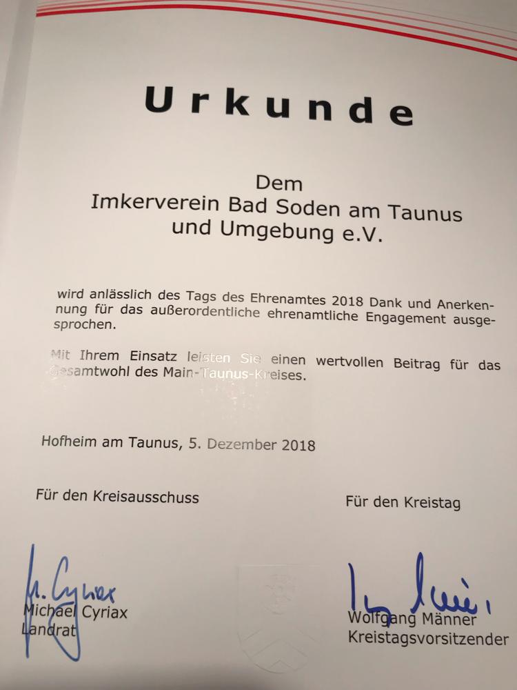 Der Imkerverein wurde für den Ehrenamtspreis nominiert.