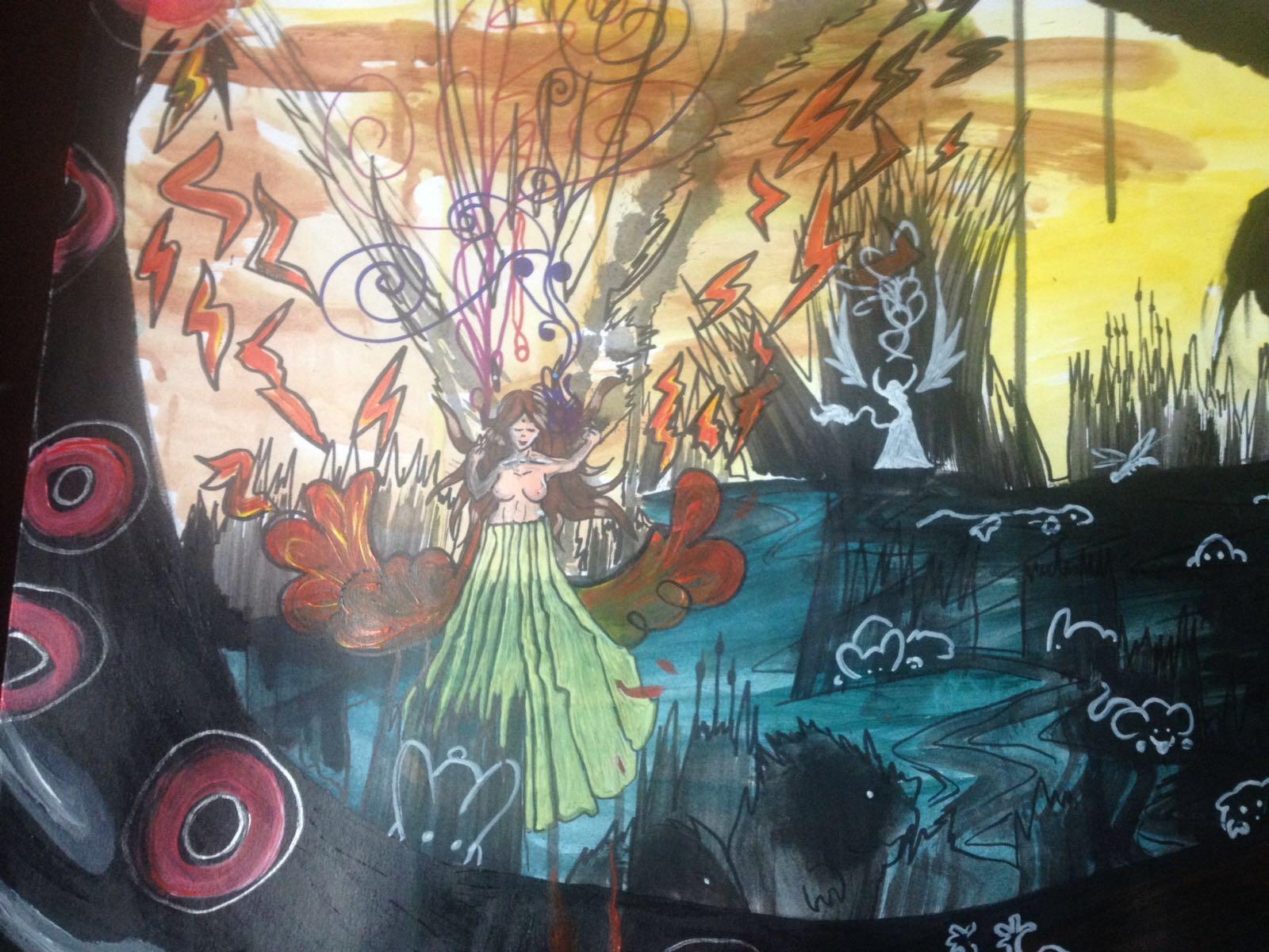 Drachenkind Ausschnitt Acryl 70x100cm Papierkarton 22.07.2016