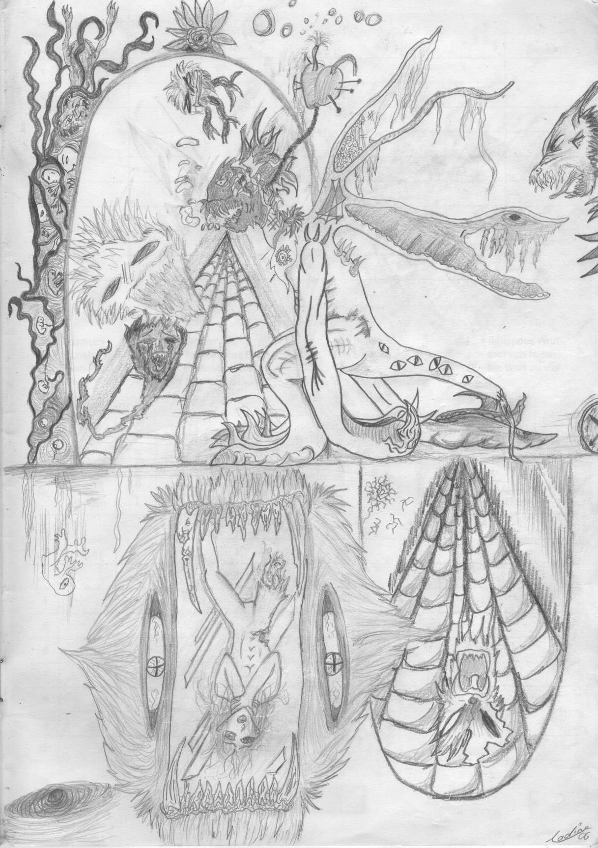 Der menschliche (Irr-)Glaube Bleistiftskizze A4 2006