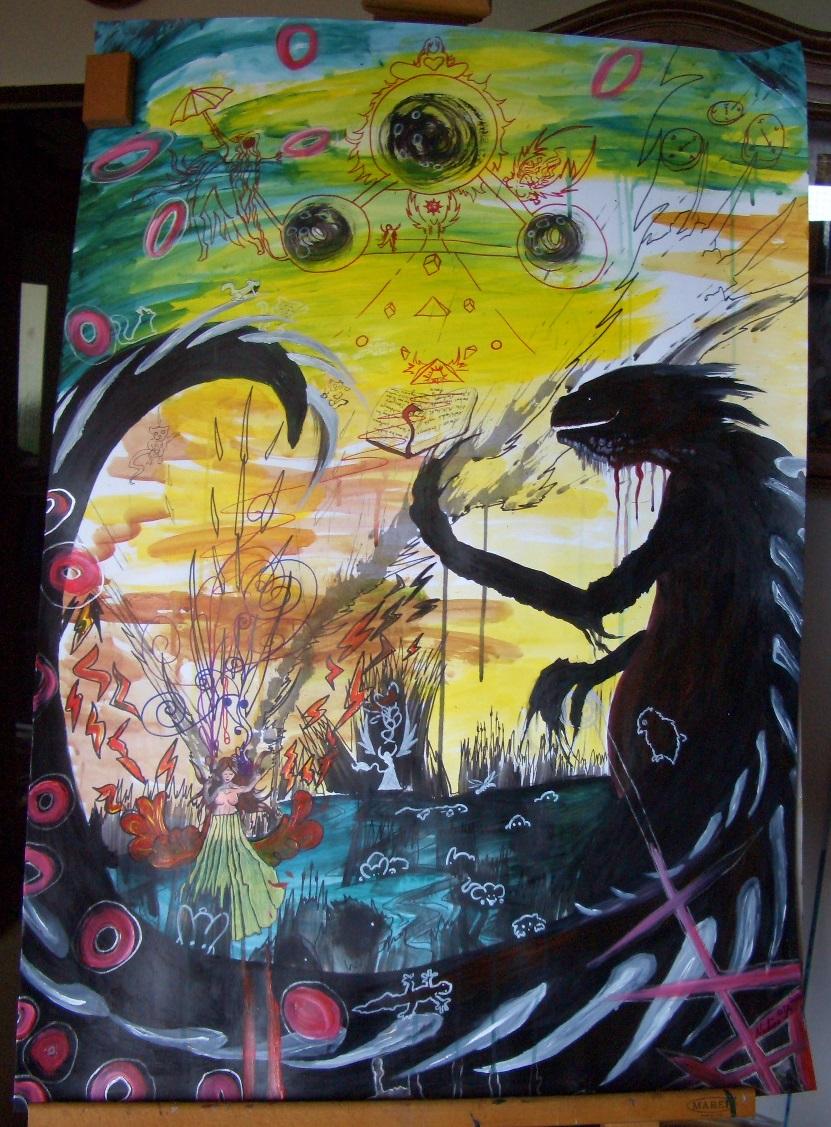 Drachenkind Acryl 70x100cm Papierkarton 22.07.2016