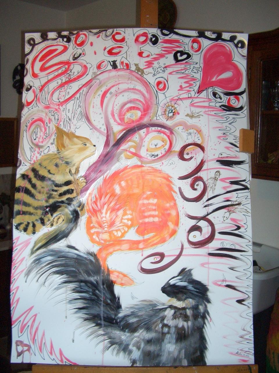 Meine Katzen Lisa, Casper & Chico Acryl auf Papierkarton 70x100cm 2016
