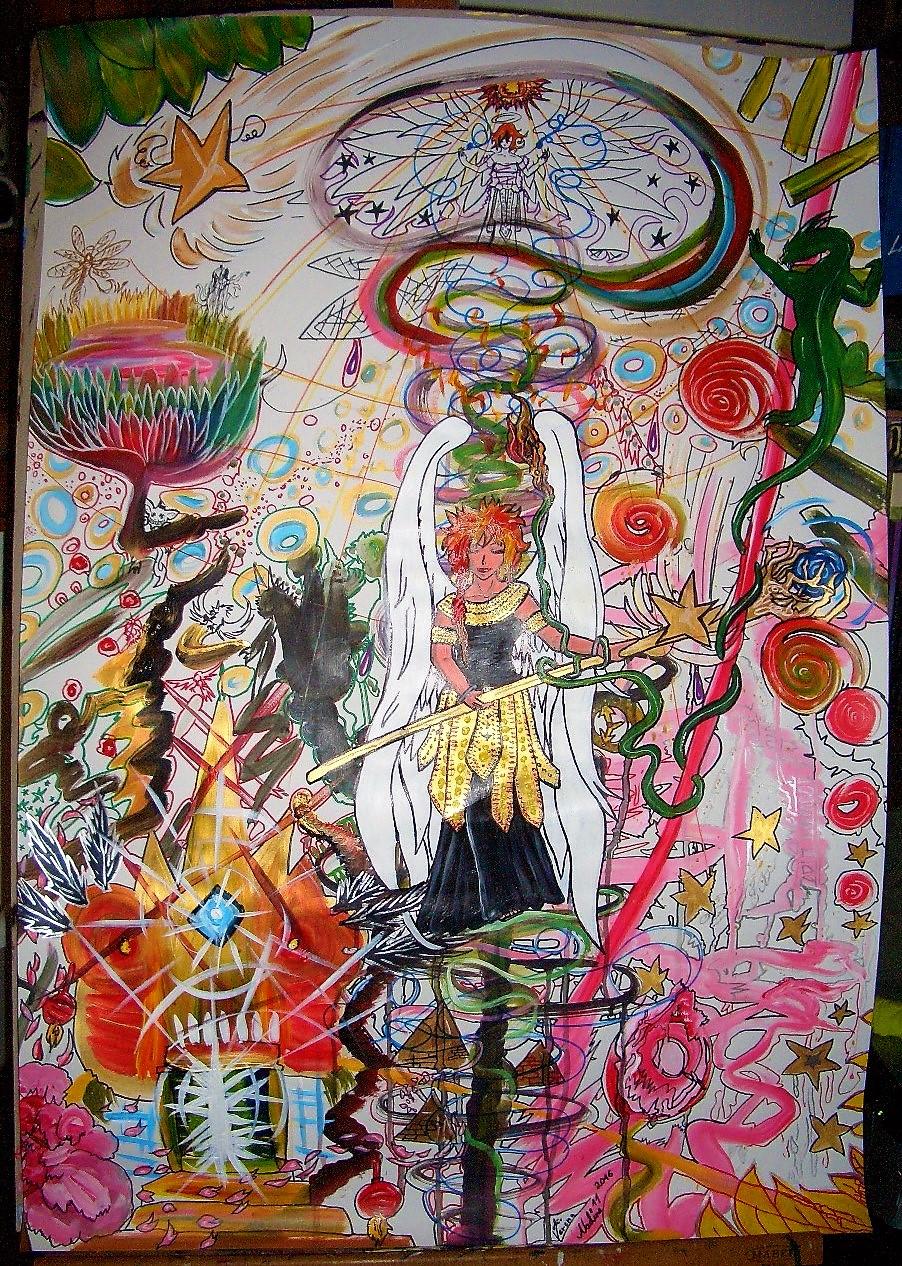 Die goldene Magierelfe Acryl/Eddingmix auf Papierkarton 100x70cm Seelenbild für eine Freundin