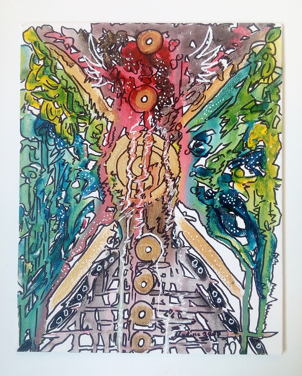Die Sieben Chakren Mandala 30x24 Leinwand auf Karton 2017