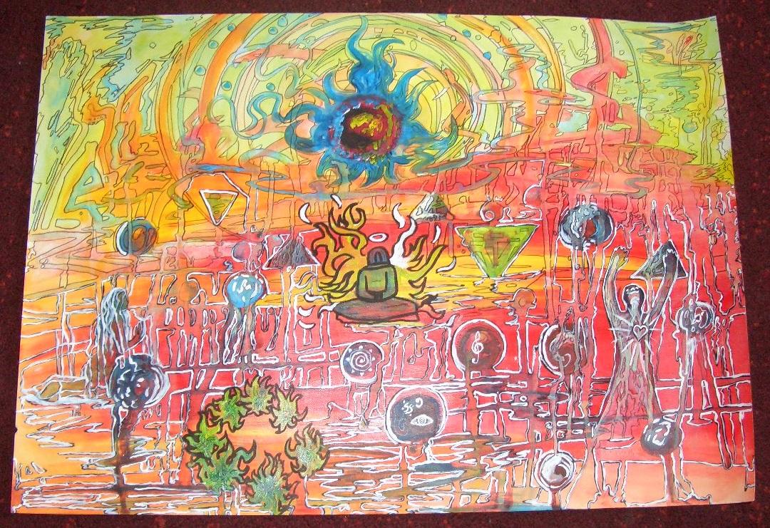 Negativblau  Acryl auf Papierkarton 50x70cm 2012