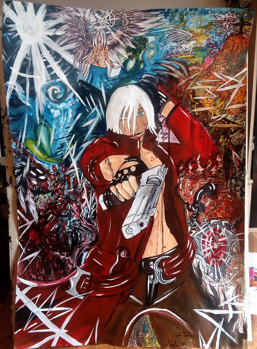 Dante the Demon Acryl/Eddingmix auf Papierkarton 100x70cm für einen Freund