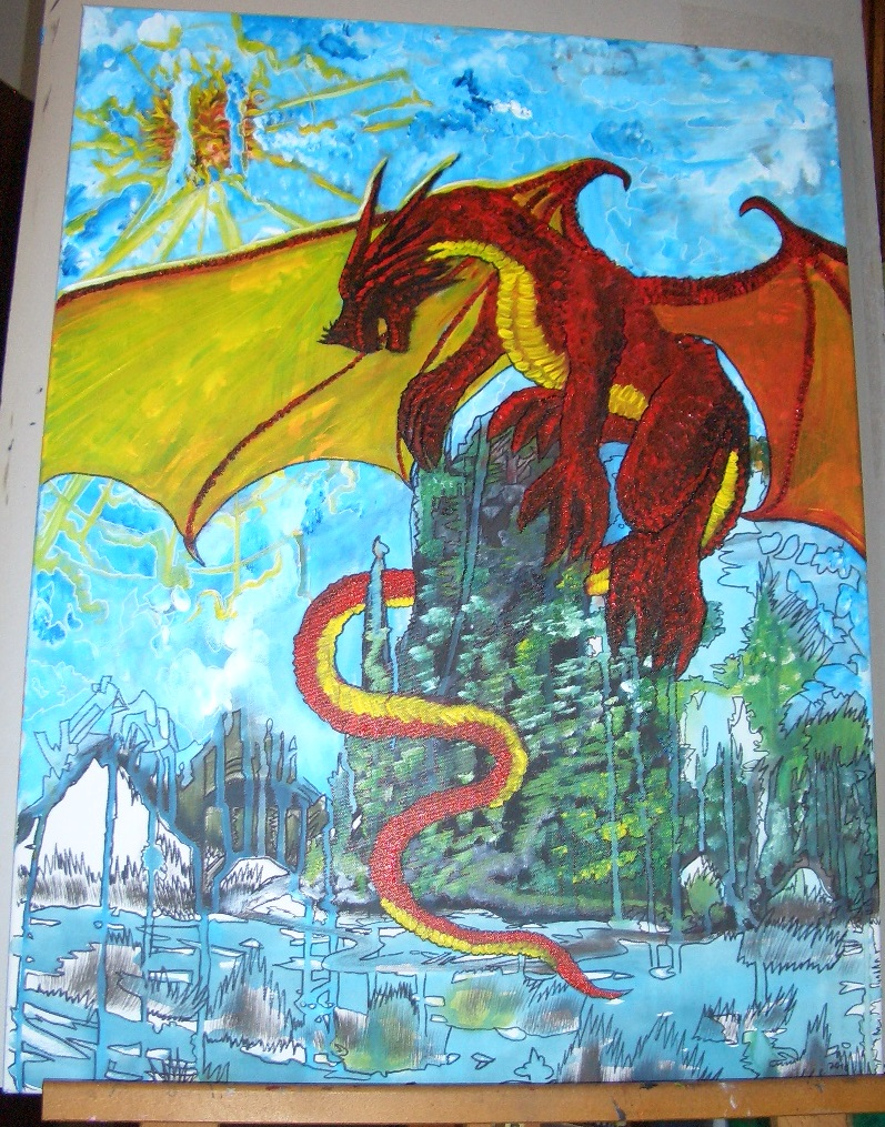 "Yami o Doragon heißt ""Bergdrache""  Acryl auf Leinwand 60x80cm 2016"