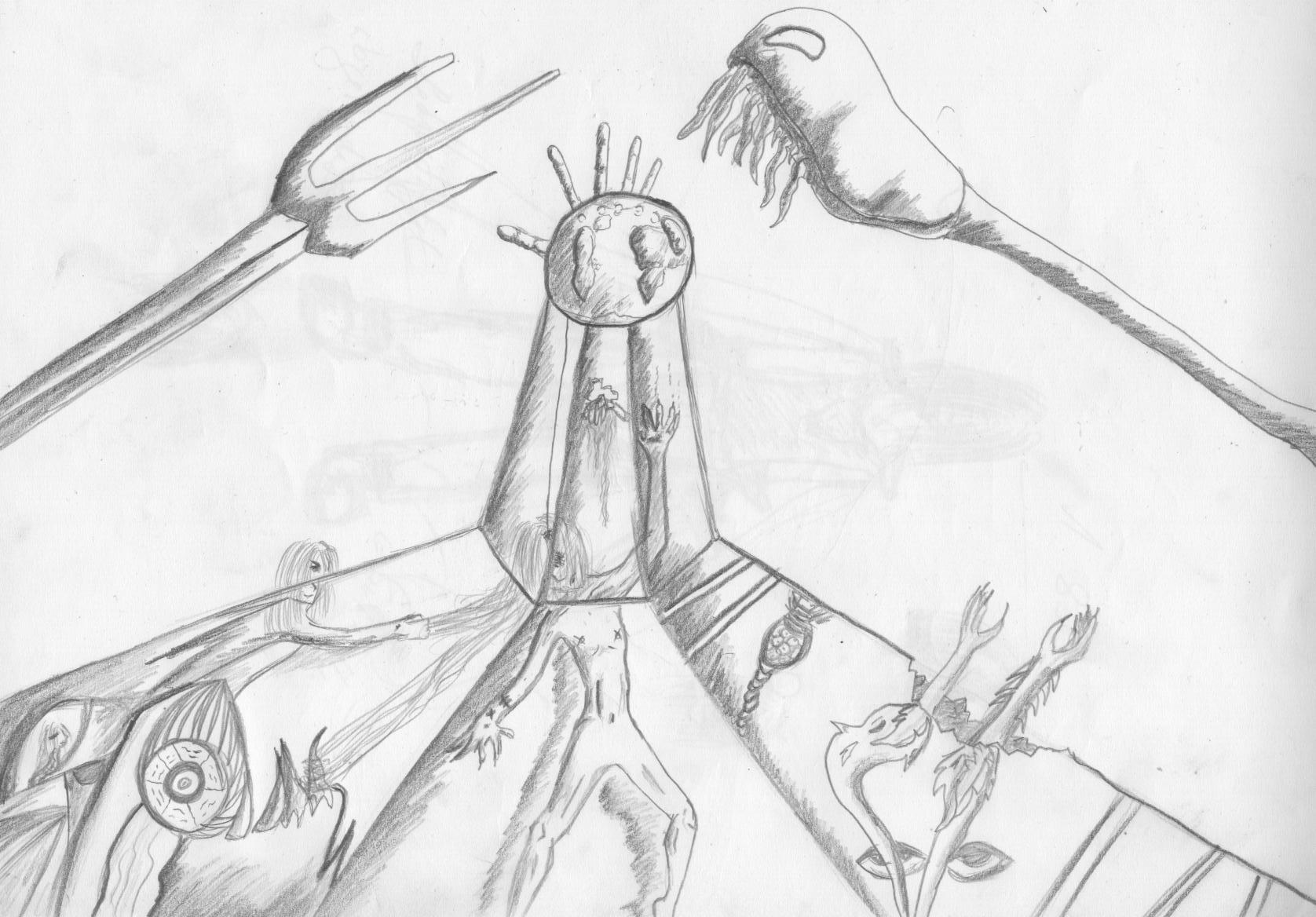 Egoismus trägt die Tugend Bleistiftskizze A4 2006