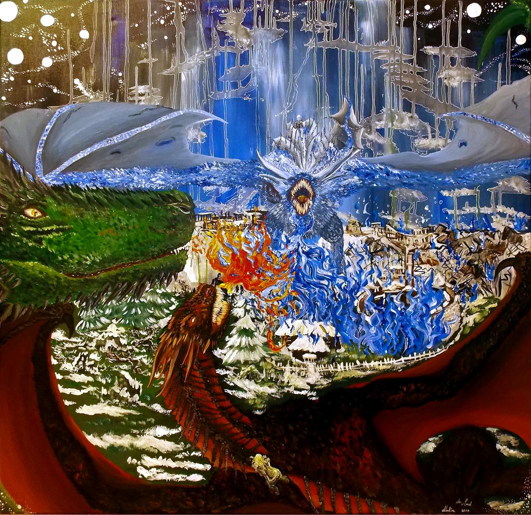 Eiskrone - der Drachenkampf Acryl auf Leinwand 1x1m 2017 Alles Gute zum Geburtstag! inspiriert von Game of Thrones
