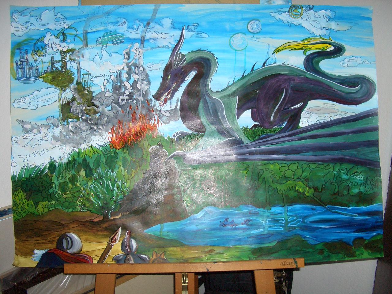 Lila-Drache  100x70m Acryl auf Papierkarton 2016