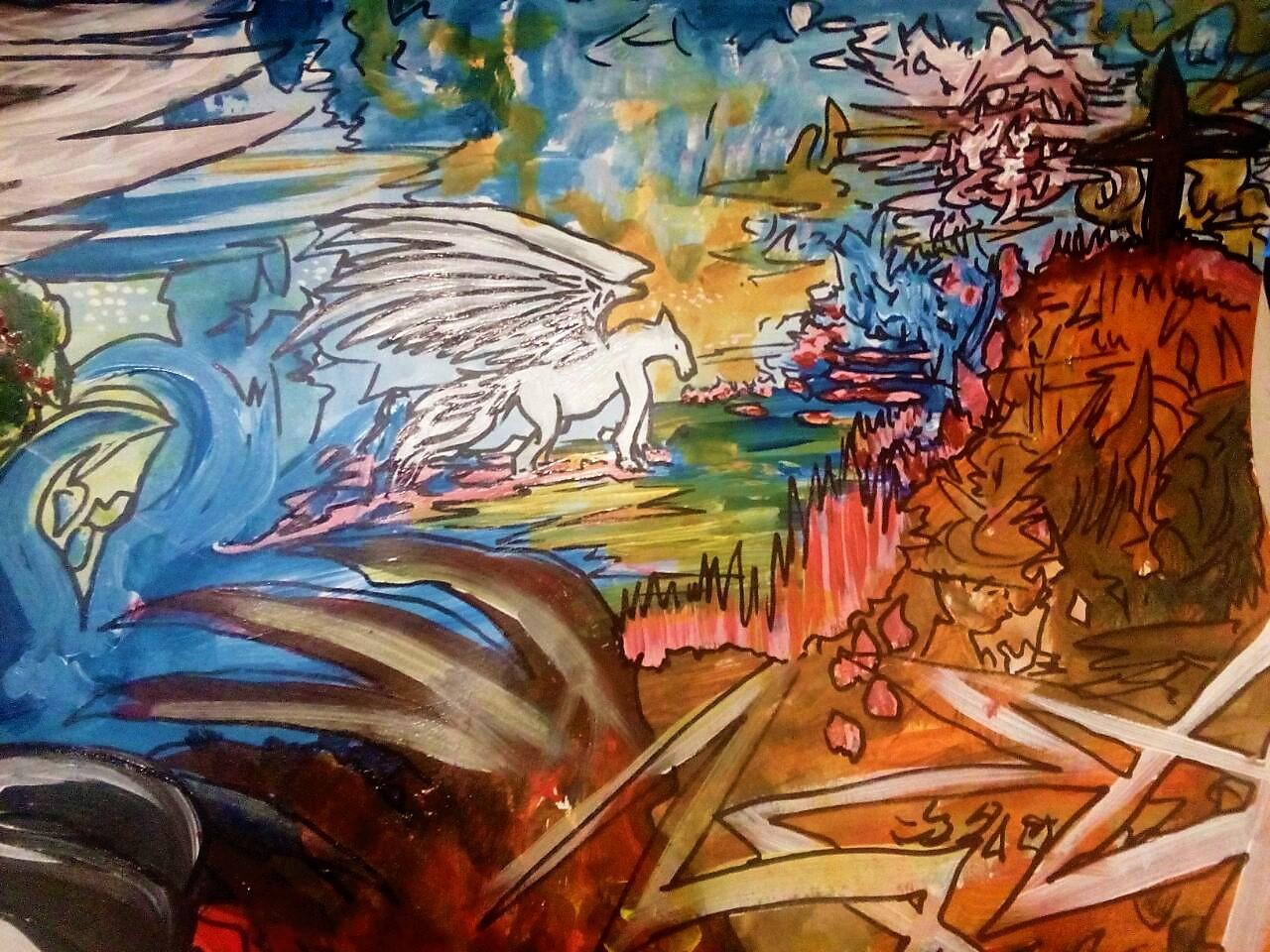 Dante the Demon Acryl/Eddingmix auf Papierkarton 100x70cm für einen Freund - Ausschnitt