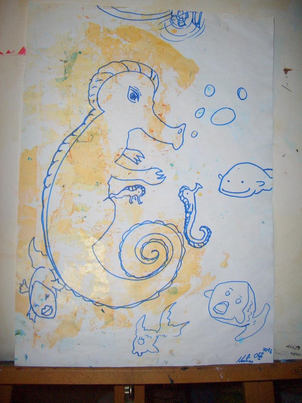 Das Seepferdchen Öltechnik auf Papier A3 2013
