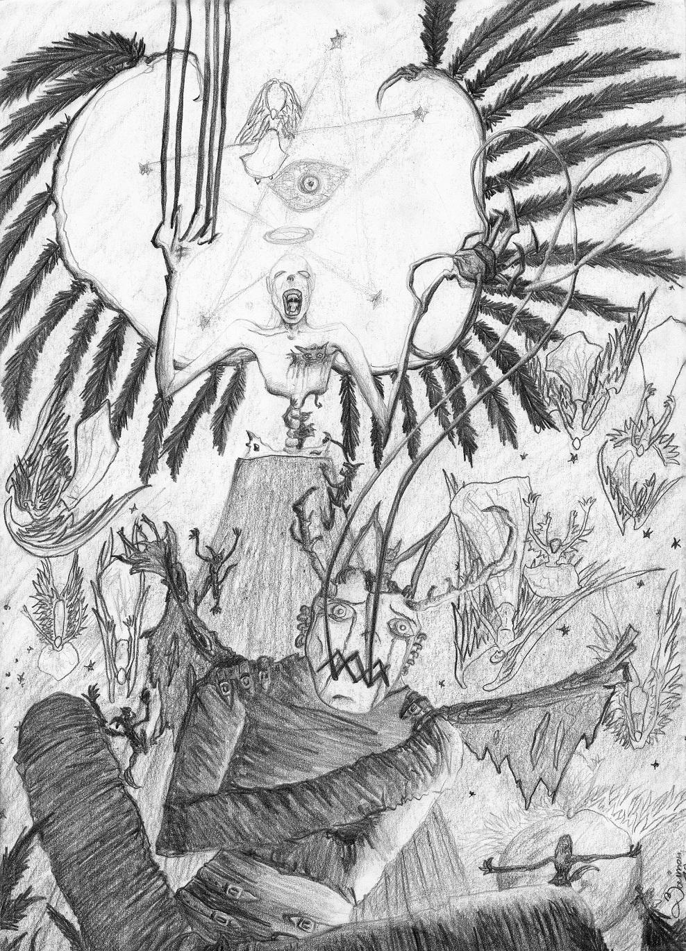 Engel oder Dämon Bleistiftskizze A4 2010