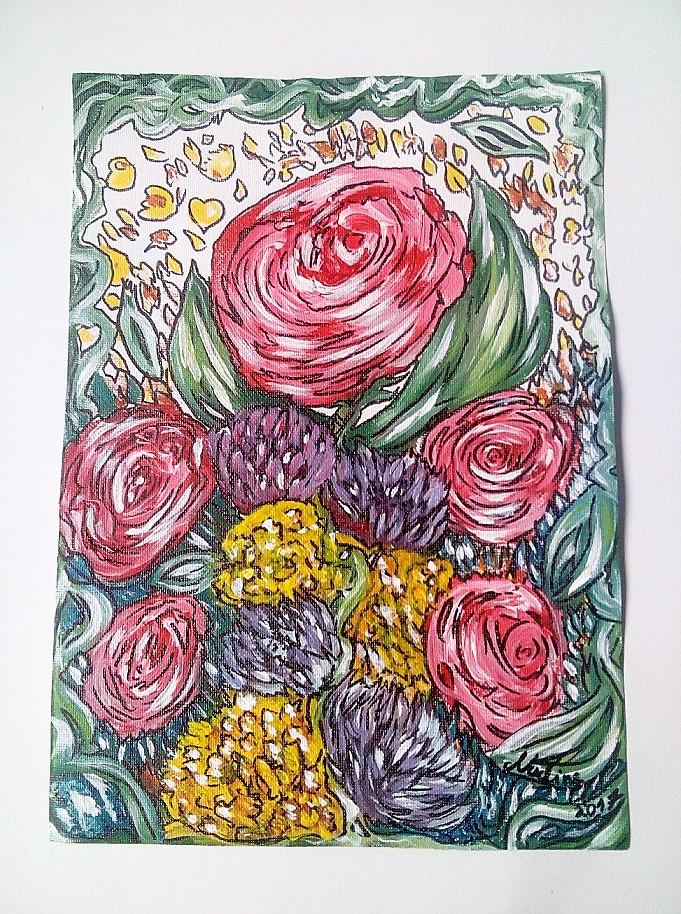 Himmelsblumen DINA4 nicht gespannte Leinwand 2017