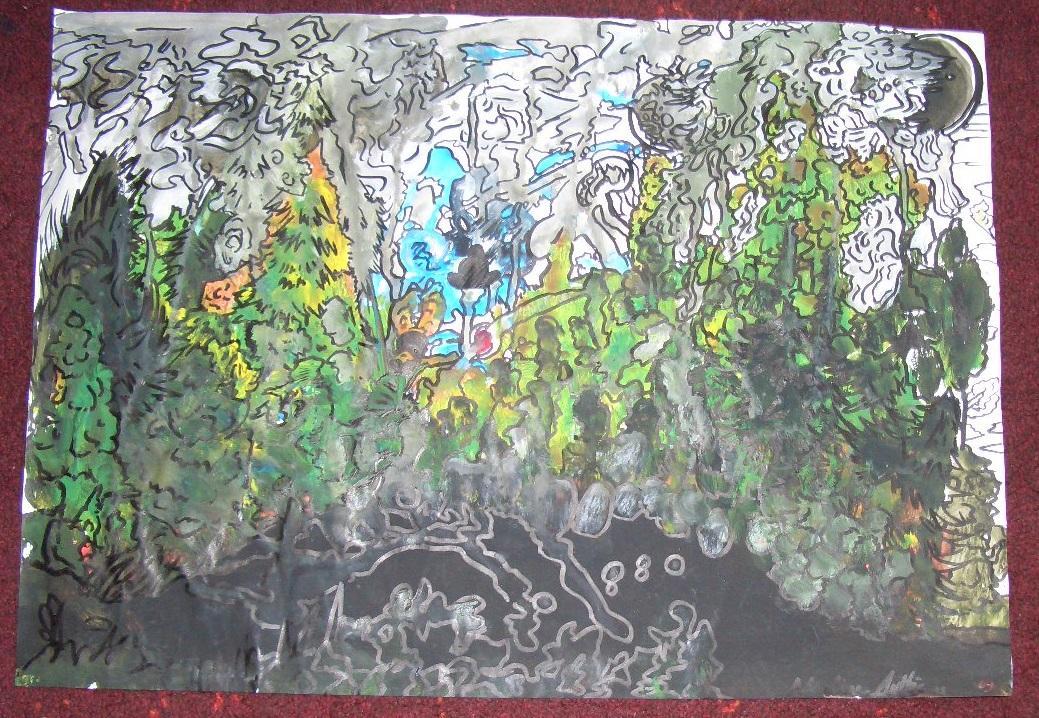 Gelassener Wald  Acryl auf Papier A2 2013