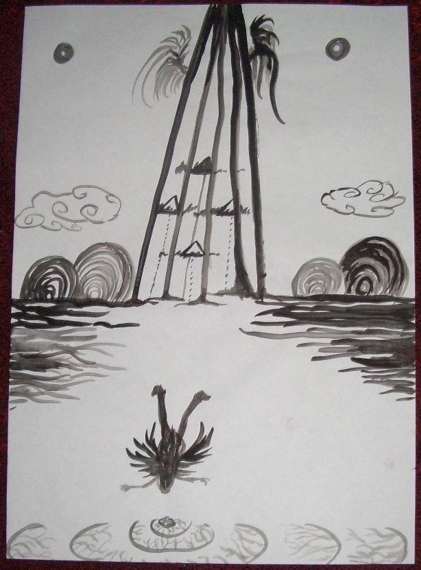 Himmelstiefe  Acryl auf Papier A2 2014