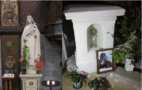 Statue de Sainte Thérèse de l'Enfant Jésus et reliques des Saints Louis et Zélie Martin