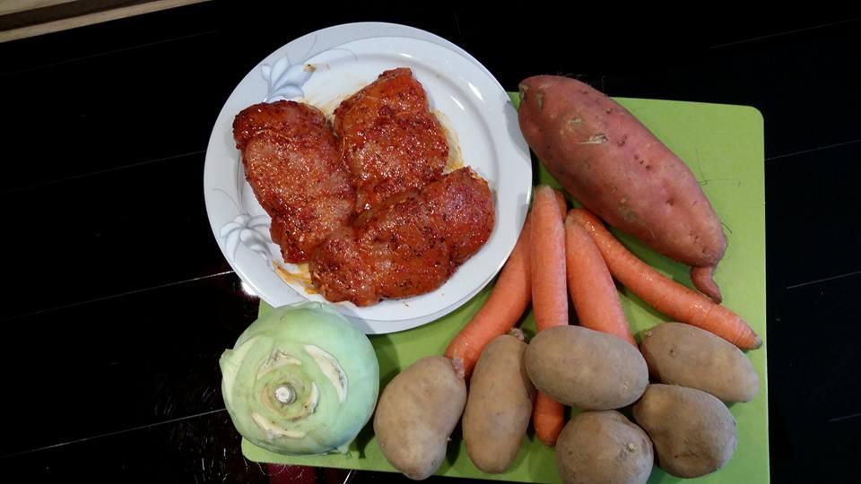 Gefüllte Schweineschnitzel mit Gemüse aus dem Ofenzauberer James von Pampered Chef®