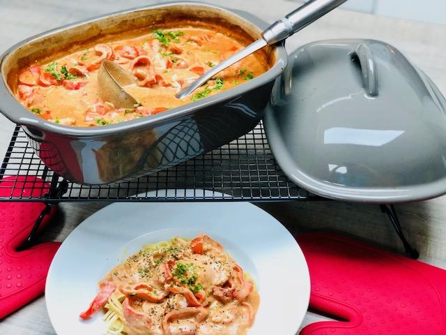 Super lecker und schnell zubereitet im Ofenmeister von Pampered Chef® - Metaxa Topf aus dem Ofenmeister von Pampered Chef®