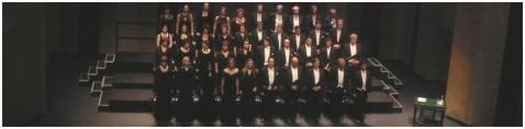 2008 Theater an der Wien. Die Konzertvereinigung Wiener Staatsopernchor mit dem Solistenquartett in der Mitte der ersten Reihe: Wilma Maller, Arina Holecek, Hakki Özpinar und Josef Stangl (Foto: Equiluz).