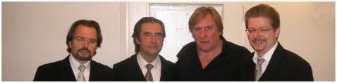 Salzburger Festspiele 2007: LELIO. V.L.N.R.: Geschäftsführer Dr. Ulrich Großrubatscher, Maestro Riccardo Muti, Gerard Depardieu und Vorstand Michael Knapp. Foto: Equiluz.
