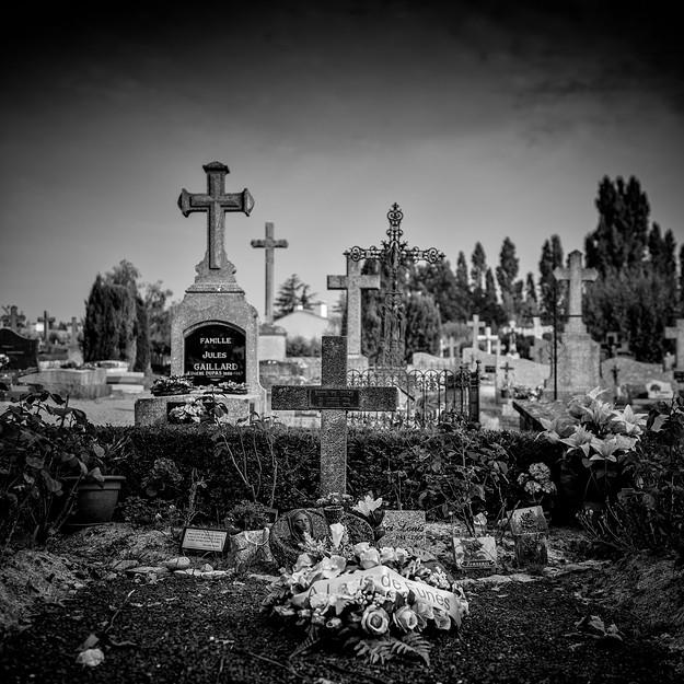 Grave of Louis de Funes, Le Cellier, Pays de la Loire. France 2014