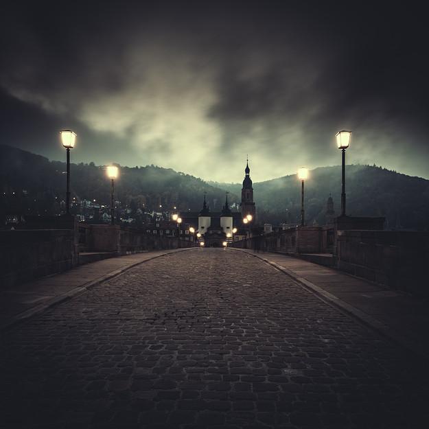 Alte Brücke bei Nebel, Heidelberg. Baden Württemberg. Germany 2014