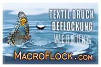 MacroFlock Grafik Design Textildruck Beflockung Werbung