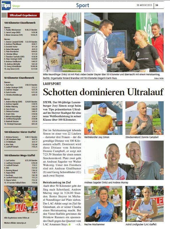 Ergebnissliste des 100 km Bewerbes im Stadtgut Steyr  Platz 9 Gesamt