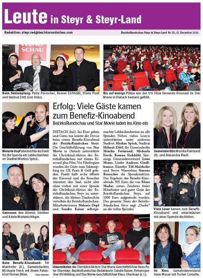 Benefiz - Kinoabend 2011 Bezirksrundschau Steyr