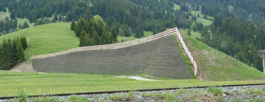 Lawinenschutzdamm in Österreich - System Polyslope S, beginnende Begrünung