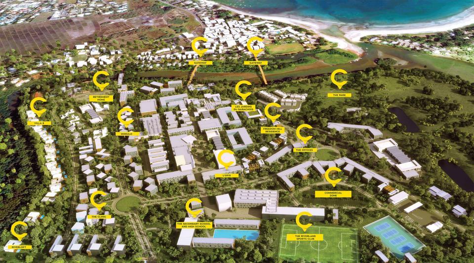 La smart city de Cap Tamarin à l'ile Maurice. Le Smart & Happy Village du Groupe Trimetys dans l'ouest de l'ile Maurice. Une résidence pour les seniors. VIlla à vendre, appartement à vendre, bureau à vendre