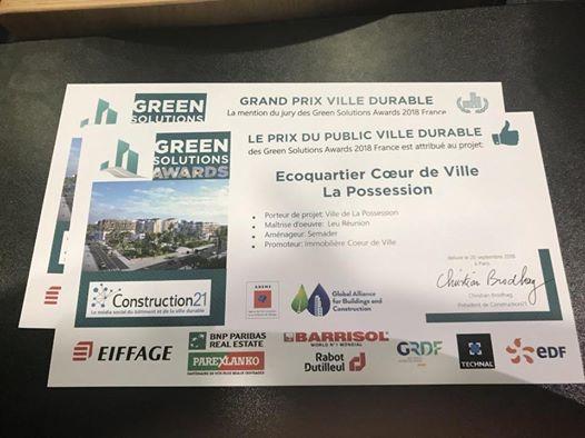 La Réunion vainqueur au niveau national 3 ème et 4 eme prix remportés cette année par l'Ecoquartier Coeur de Ville de La Possession! Prix du public aux Green Solutions Award 2018 et prix spécial du jury !  La ville durable réunionnaise est ici reconnue !