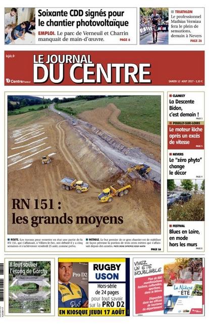 Le journal du Centre, le 12 août 2017