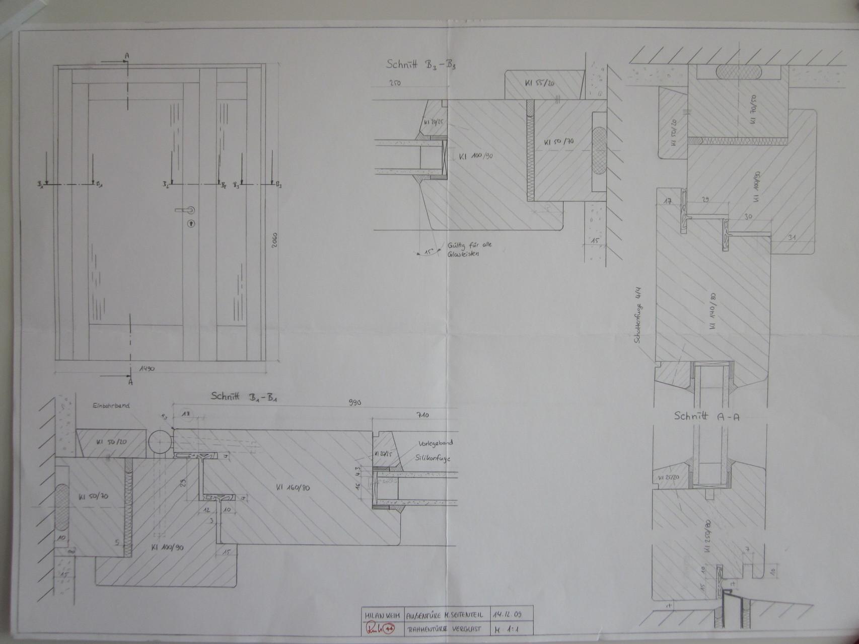 Fertigungszeichnung Haustür (Lernfeld 10)