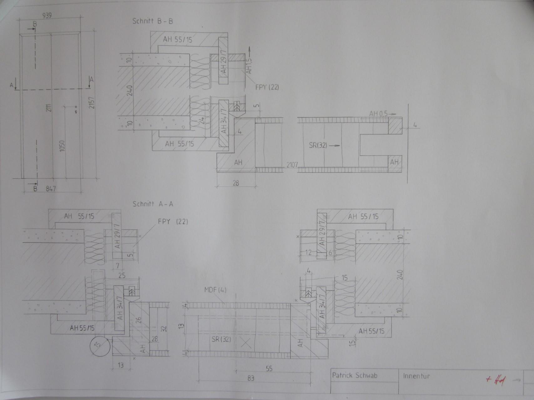 Fertigungszeichnung Innentür (Lernfeld 9)